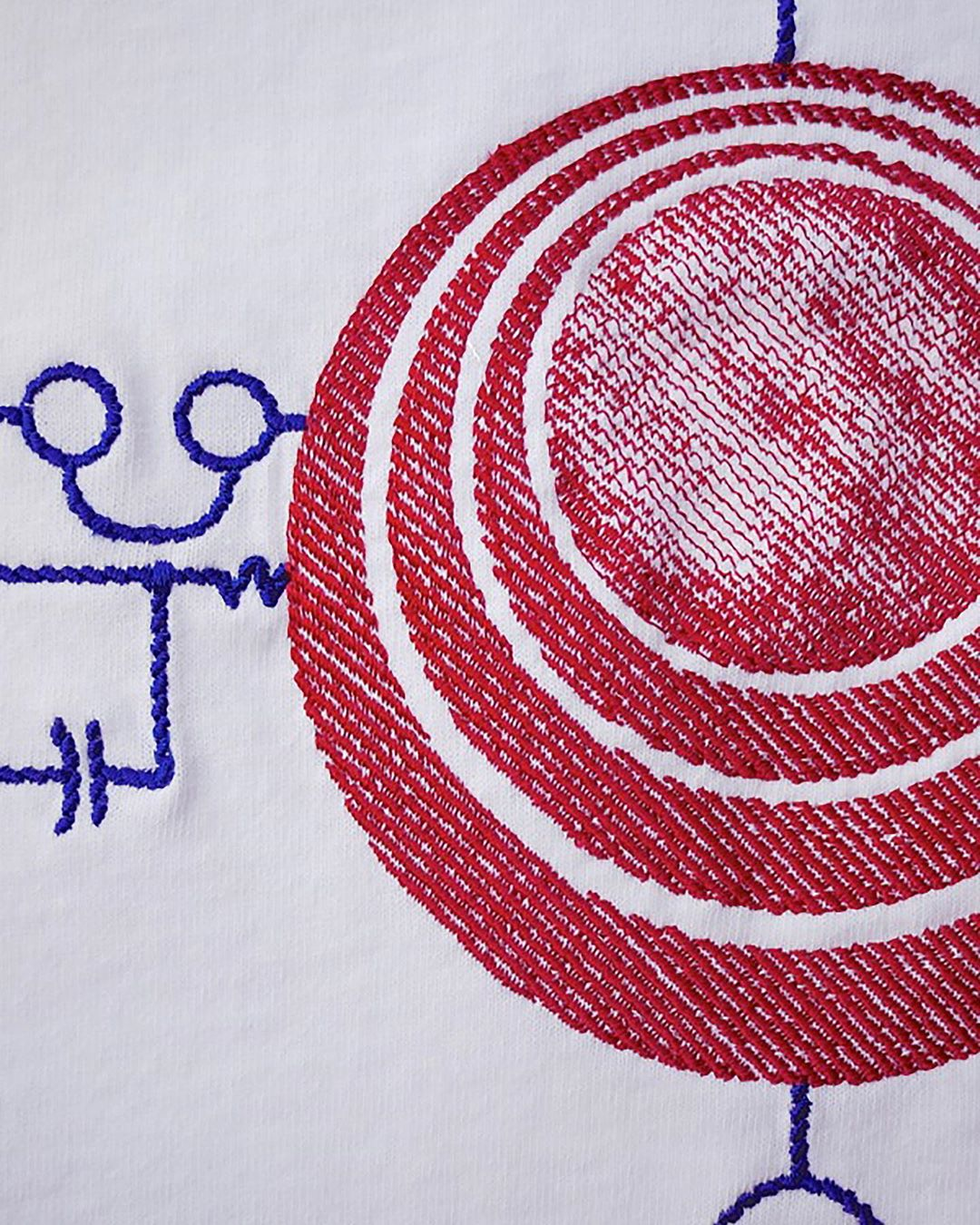 stitching detail from an artist series capsule collection for avalone tokyo