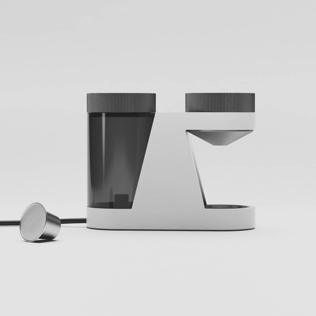 CUP - Coffee maker concept for single espressos. If there are small capsules enabling one espresso at a time, why not an espresso machine / tool which communicates the same?⁠ ⁠ The usage and function is reduced to this purpose, there are no double- or single-buttons, no trash bin for capsules, space for big cups or extras. Take a capsule, place it into the lid, turn it manually into the classical bayonet catch and 25ml water will dissolve the 5mg into your espresso.