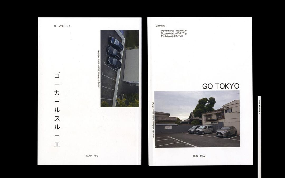 Within masses of pictures of cities, which can hardly be more different from another, I came across two images that created one of the aforementioned Deja-Vu moments. One could imagine that it is the same parking lot from different perspectives, although one comes from Karlsruhe and one from Tokyo. Here is the front and back of the book, with Japanese, and English cover